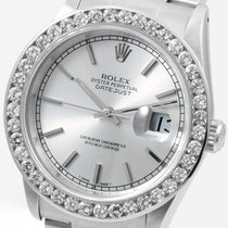 Rolex SS Datejust Silver Dial Custom  2.5 ct. Diamond Bezel 16030