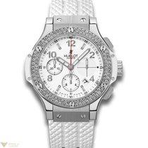 Hublot Big Bang 41mm Steel Diamonds Rubber White Ladies Watch