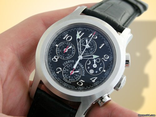 Cuervo y Sobrinos Robusto Chronograph Moon Phase Stainless Steel