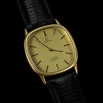 Omega De Ville Mens Midsize Thin Dress Watch - 18K Gold Plated SS