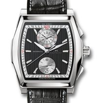 IWC Da Vinci Black Dial Black Leather Chronograph