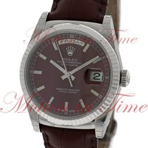 Rolex Day-Date 36mm President, Cherry Red Dial, Fluted Bezel -...