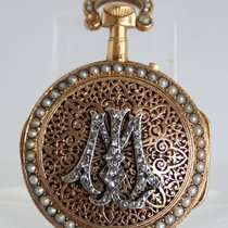 A Fine French Antique Pearls & Diamonds Gold Pocket Watch...