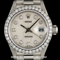 Rolex Platinum Silver Jubilee Diamond Dial Datejust Ladies 69136