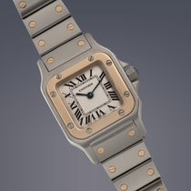 Cartier Ladies Santos steel and gold quartz on bracelet