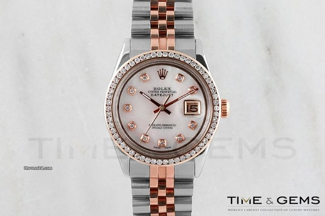 Rolex Two-Tone Rose Gold Black Mother of Pearl Roman Dial Channel Set Bezel Oyster Band Datejust
