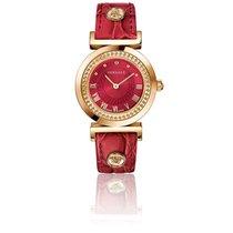 Versace Montre Vanity 35 mm Bracelet Cuir Rouge Cadran Rouge...