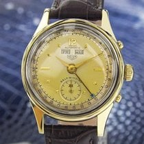 Heuer Triple Date Stainless Gold Plated Bumper Watch 50's...