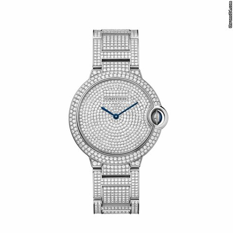 Cartier Ballon Bleu Diamond Pave Dial 18kt White Gold Unisex Watch HPI00581