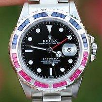Rolex Mens 40mm 16710 Steel Gmt Master Pepsi Diamond Sapphire...