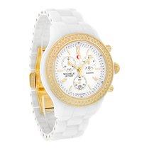 Michele Jetway Ladies Diamond White Ceramic Chrono Watch...