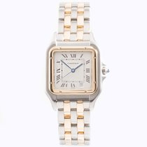 Cartier Carter Panthere Steel And Gold Two Row Gents Wrist Watch