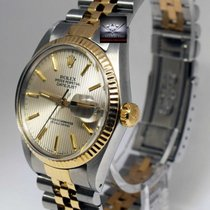 Rolex Datejust 18k Yellow Gold/Steel Silver Tapestry Dial Mens...