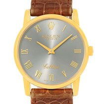 Rolex Cellini Classic 18k Yellow Gold Slate Dial Brown Strap...