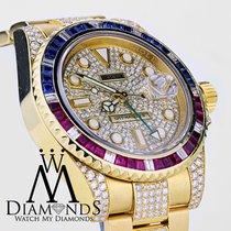 Rolex Gmt Master Ii 116718 18k Yellow Gold Pepsi Diamonds/rubi...