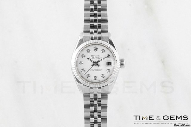 Rolex Stainless Steel White Diamond Dial Fluted Bezel Datejust