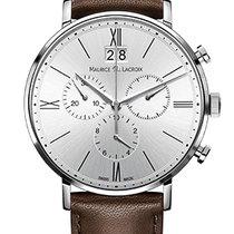 Maurice Lacroix Eliros Chronographe Silver Dial, Brown Strap,...