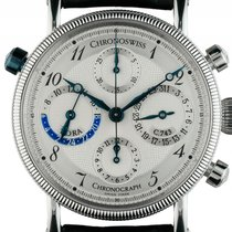 Chronoswiss Tora Stahl Automatik GMT Chronograph Leder Armband...