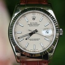 Rolex Mens Ladies Datejust 18k White Gold 116139 Leather Band...