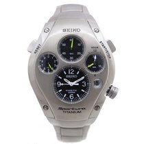 Seiko sportura titanium slq009 kinetic chronograph acier watch