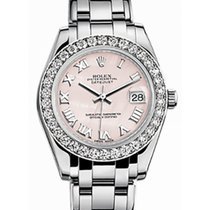 Rolex Pearlmaster 34 81299 Pink Mother of Pearl Roman Diamond...