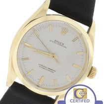 Rolex Oyster Perpetual Silver 34mm 14K Yellow Gold Leather Watch