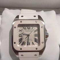 Cartier Santos 100 Medi Automatic, Silver Dial, White Rubber