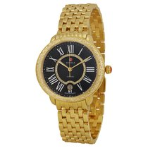 Michele Serein Black Pearl Dial Gold-plated Diamond Ladies Watch