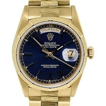 Rolex 18248 Day-Date Presidential Blue Dial Bark Bezel Watch