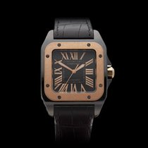 Cartier Santos 100 DLC Black DLC Coated Stainless Steel Unisex...