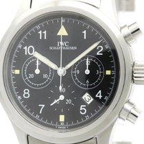 IWC Polished Iwc Flieger Chronograph Steel Quartz Mens Watch...