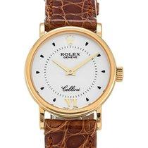 Rolex Cellini Quartz Ladies 6110-8 White Yellow Gold Brown...