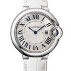 Cartier Ballon Bleu 33mm Stainless Steel Watch White Leather...