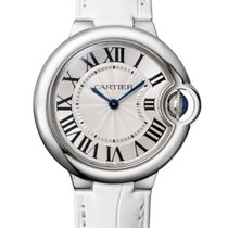 Cartier Ballon Bleu 33mm Stainless Steel Watch White Leather...