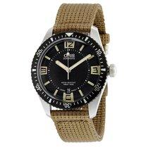 Oris Diver 65 Black Dial Textile Strap Mens Watch 73377074064TS