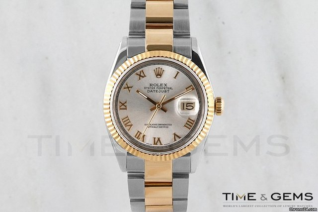 Rolex Two-Tone Silver Roman Dial Fluted Bezel Oyster Band Datejust