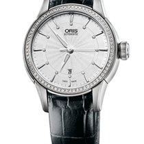 Oris Artelier Date Diamonds Steel/Diamonds Black Leather