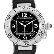 Cartier Pasha Seatimer Rubber Strap Steel Mens Watch W31077u2
