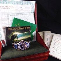 Rolex 18k Yellow Gold Submariner 16618 Blue Full Set