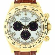 Rolex 116518 Yellow Gold Daytona White Panda Dial Leather Strap