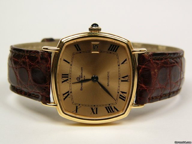 Baume & Mercier Baumatic yellow gold and leather strap Mod.37069
