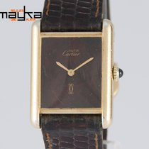 Cartier Tank Must de Silver 925 Plaque or G 20M Chocolate Dial