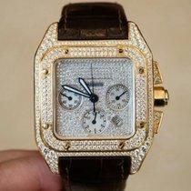 Cartier Santos 100 XL 55.2 Yellow Gold After Market  Diamonds...