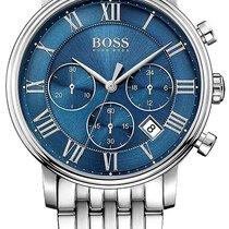Hugo Boss Elevation Chronograph Steel Mens Watch Blue Dial...