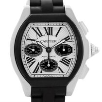 Cartier Roadster Chronograph Silver Dial Rubber Strap Watch...