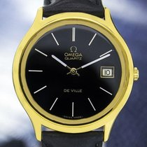 Omega Deville Gold Plated Quartz Watch W/date, Black Dial #6521