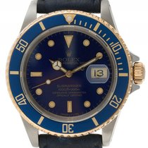 Rolex Submariner Date Stahl Gelbgold Automatik Armband Leder...