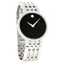 Movado Esperanza Mens Stl Steel Black Dial Swiss Quartz Watch...