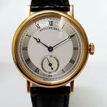 Breguet Classique Silver Dial 18kt Yellow Gold Black Leather 5907