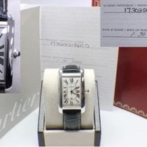 Cartier Tank Americaine Mens 18K White Gold 1741 Box & Papers